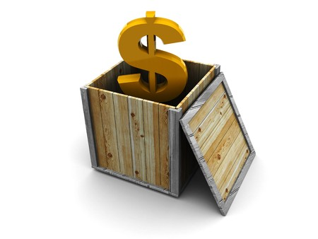 abstract 3d illustration of dollar sign in wooden box, white background