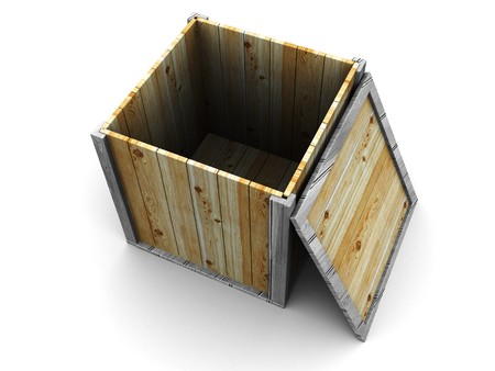 abstract 3d illustration of empty wooden crate