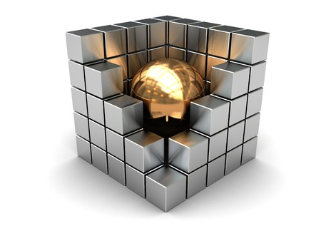 abstract 3d illustration of steel cube with golden ball inside