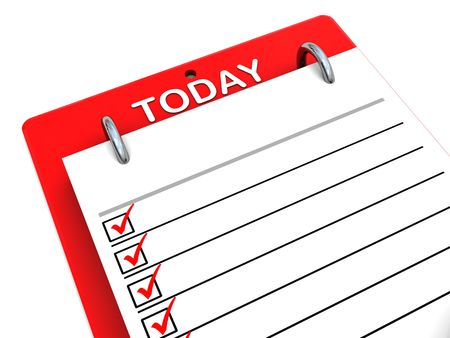 3d illustration of today checklist clipboard over white background