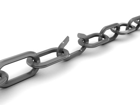3d illustration of broken chain over white background
