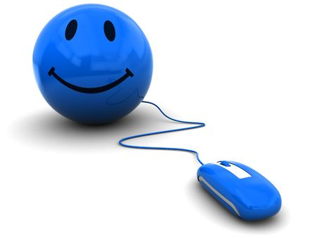 3d illustration of computer mouse connected to smile symbol