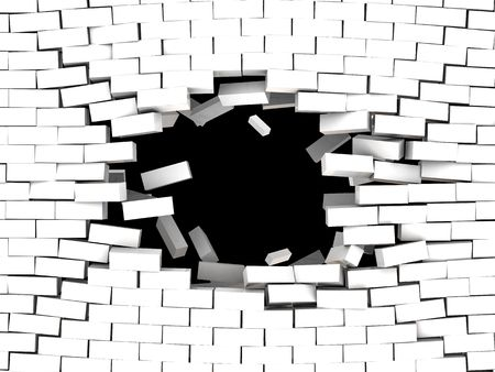 3d illustration of breaking white brick wall background