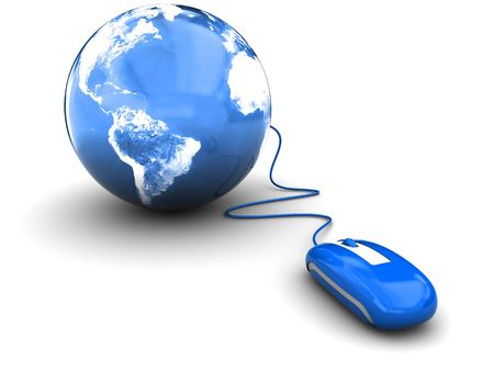 3d illustration of blue computer mouse connected to earth globe