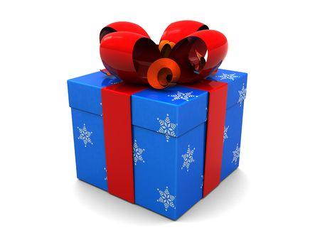 3d illustration of christmas present box over white background