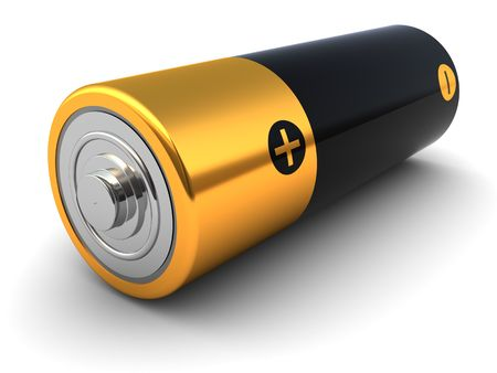 3d illustration of small battery closeup, over white background