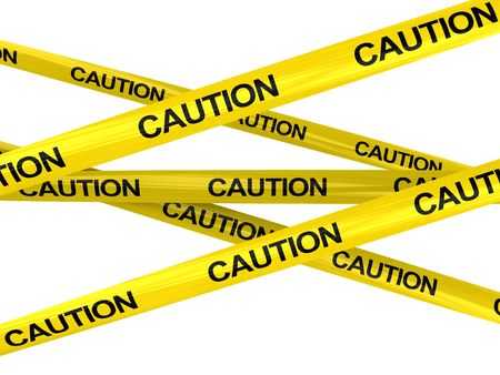 3d illustration of warning ribbons with 'caution' text, isolated over white