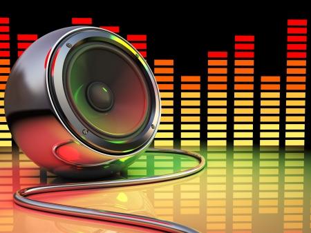 3d illustration of audio speaker and spectrum, disco party concept