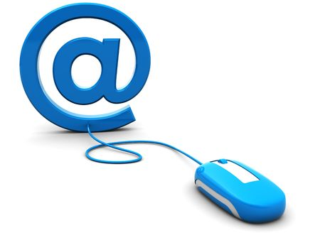 3d illustration of computer mouse connected to email sign