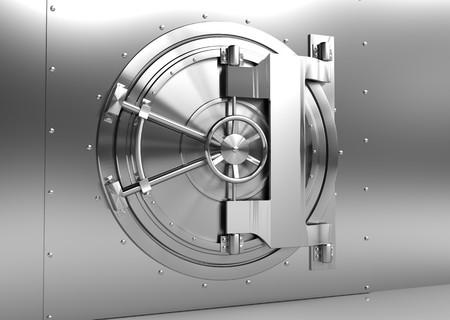 Photo pour 3d illustration of steel bank vaulted door - image libre de droit