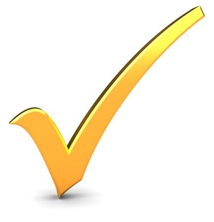 3d illustration of golden check mark over white background