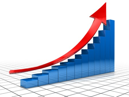 Foto de 3d illustration of raising charts and red arrow  - Imagen libre de derechos