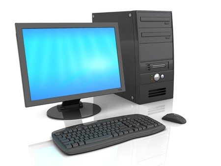 3d illustration of black desktop computer over white background with refelction
