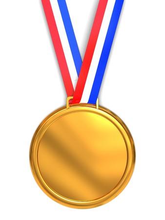 3d illustration of golden medal over white background