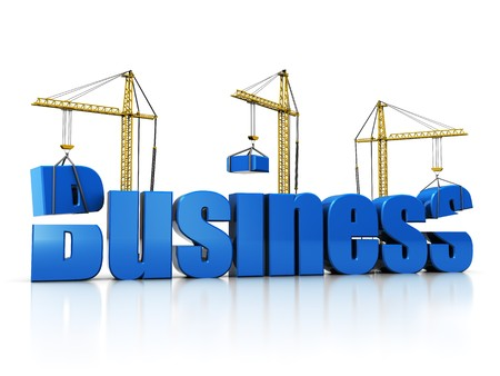 3d illustration of cranes building text 'business' over white background