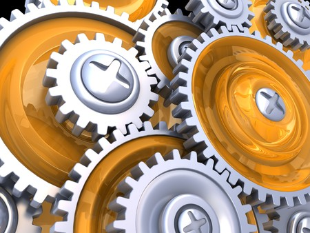 abstract 3d illustration of gear wheels