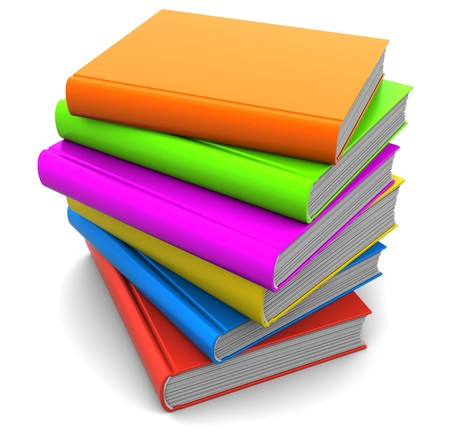 3d illustration of colorful books stack with blank covers