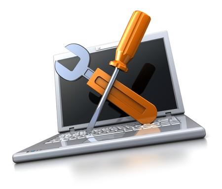Photo pour 3d illustration of laptop computer with wrench and screwdriver, computer repair service concept - image libre de droit