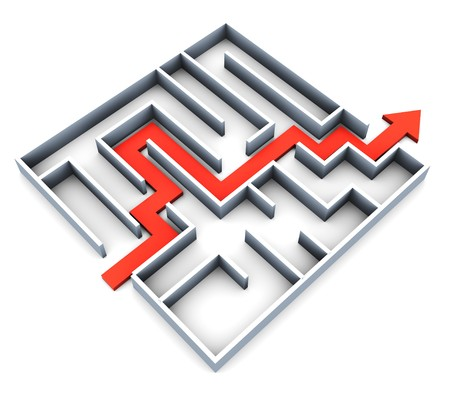 abstract 3d illustration of succefull completed maze with red track arrow