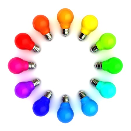 3d illustration of colorful bulbs circle over white background
