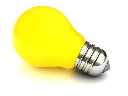 3d illustration of yellow light bulb over white background
