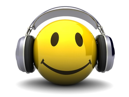 3d illustration of happy face with headphones, over white background
