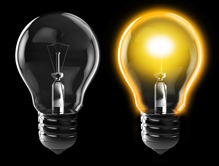 3d illustration of light bulb, power on, and power off, over black background