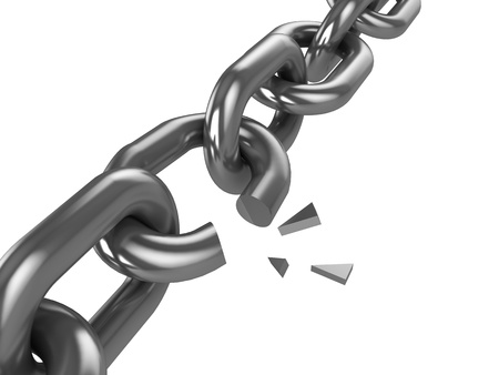 3d illustration of broken chain isolated over white background