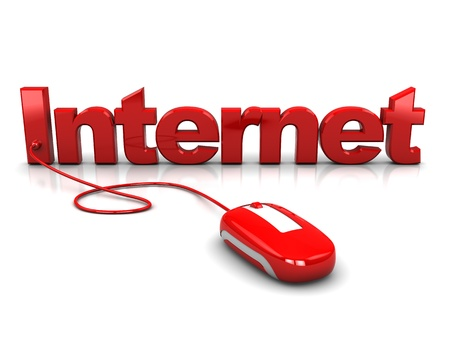 3d illustration of computer mouse connected to text 'internet'