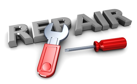 Photo pour 3d illustration of sign 'repair' with hand tools, over white background - image libre de droit