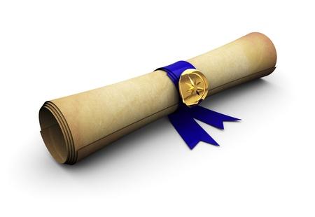 Photo pour 3d illustration of old paper scroll with blue ribbon - image libre de droit