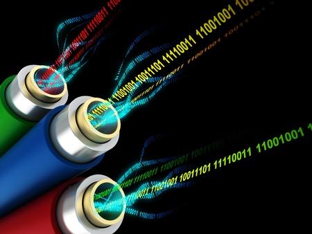 3d illustration of wires or fiber optics with digital data inside