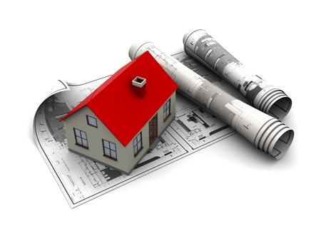 3d illustration of blueprints and house model, over white background