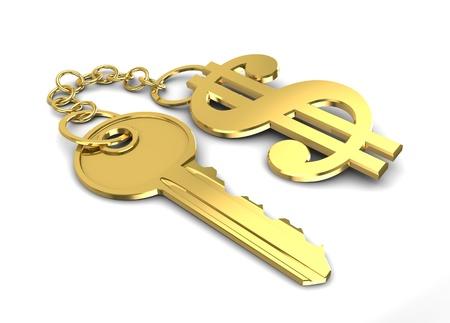 3d illustration of golden key with dollar shaped keyholder