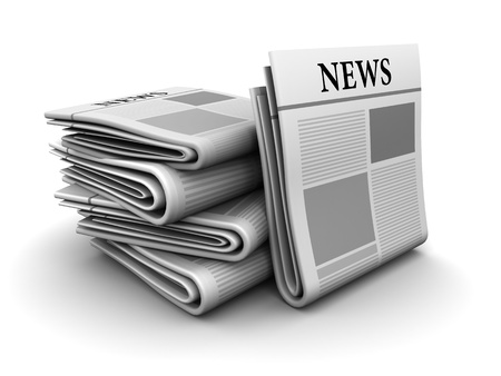 3d illustration of newspapers stack over white background