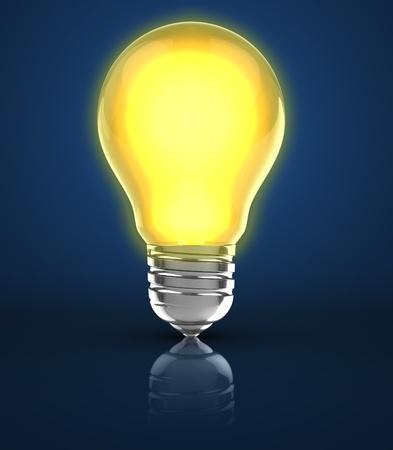 3d illustration of light bulb over blue background