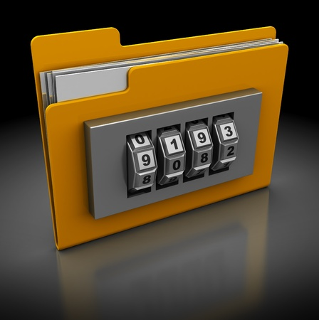 3d illustration of folder icon with combination lock