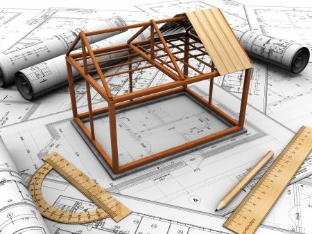 Photo pour Small construction house over design plan with pencil and rules - image libre de droit