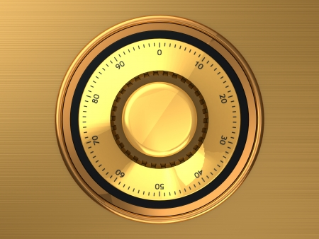 Golden safe dial with code