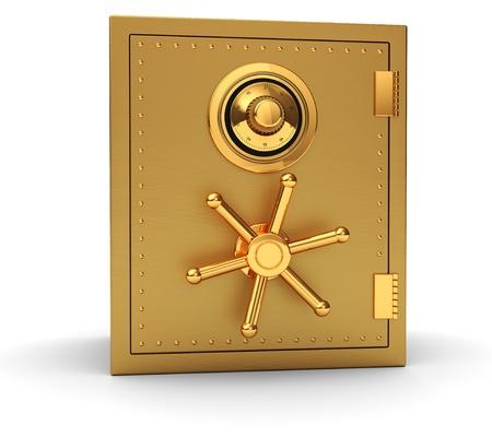 Photo pour Big golden safe isolated on white background - image libre de droit