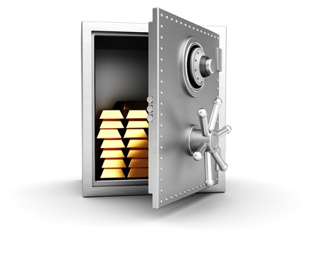 Concept wealth  open safe with golden bars isolated on white background