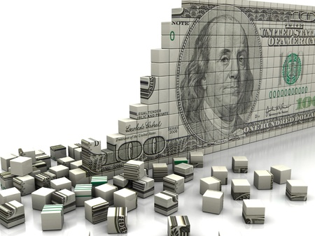 Finance concept  puzzle dollar with pieces near by