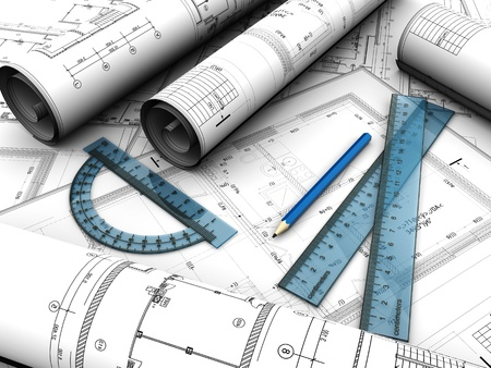 Photo for Modern  engineering plan with pencil and rules on it - Royalty Free Image