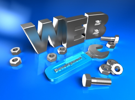 3d web with bolts and screw-nuts