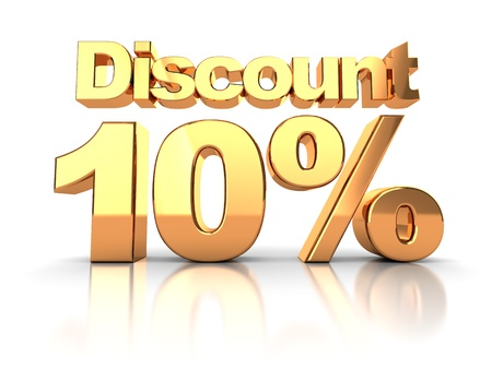 Discount coupon with 10 percent on a white background