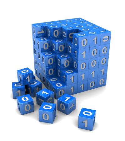 Binary code on digital blue cube, 3d image