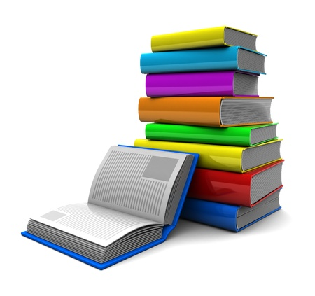 3d illustration: pile of color books with open book near by