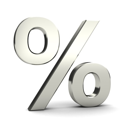 Symbol of percent isolated on white background, 3d image