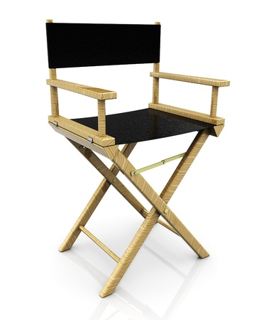 3d illustration of cinema director chair, over white background