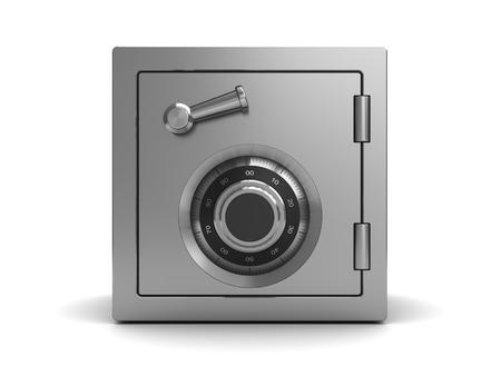 Photo pour 3d illustration of steel safe, front view - image libre de droit